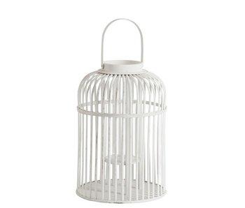 J-Line Windlicht Spijlen Rond Handvat Bamboe/Glas Wit Large