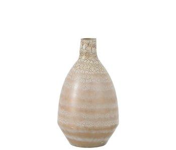 J-Line Vase Tara Effet Craquelé Verre Beige / Or / Blanc Vase Tara Effet Craquelé Verre Beige / Or / Blanc