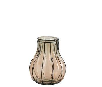 J-Line Vase Fusion Verre / Métal Taupe Small