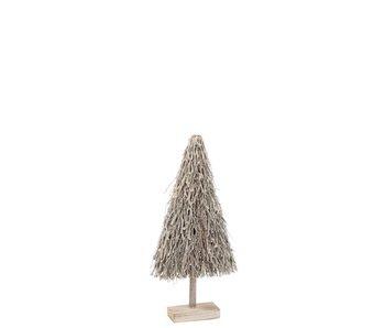 J-Line Sapin de Noël Branches plates Bois Gris S
