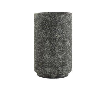 J-Line Pot de Fleurs Haut Relief Fleurs Céramique Gris Large