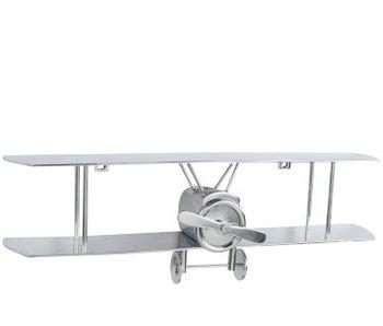 J-Line Wanddecoratie Vliegtuig Dubbeldekker Aluminium Zilver
