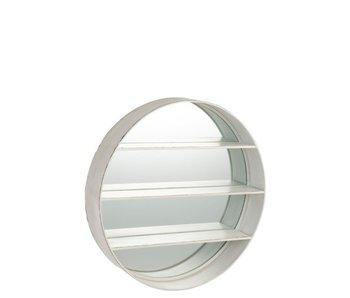 J-Line Miroir Rond Etagère Bois Blanc