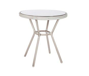 J-Line Table Hilda Aluminium / Verre Gris 70X74Cm