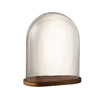 J-Line Stolp Ovaal Hout/Glas Transparant/Donker Bruin Large
