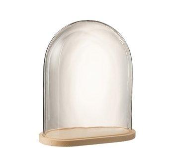 J-Line Stolp Ovaal Hout/Glas Transparant/Naturel Large