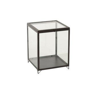 J-Line Glazen Box Rechthoek Glas/Metal Zwart
