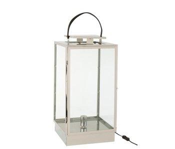 J-Line Lantaarn Lamp Metaal/Glas Zilver
