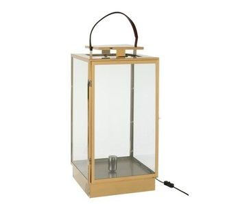 J-Line Lantaarn Lamp Metaal/Glas Goud