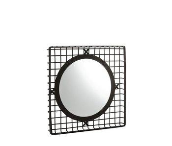 J-Line Miroir Rond Carré Bambou Noir