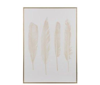 J-Line Kader 4 Veren Hout/Canvas Goud/Wit