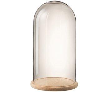 J-Line Stolp Rond Hout/Glas Transparant/Naturel Large