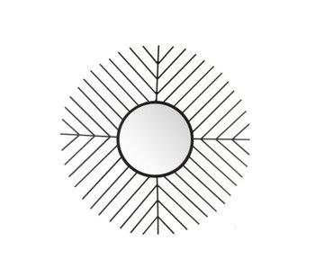 J-Line Spiegel Spijlen Rond Metaal/Glas Zwart