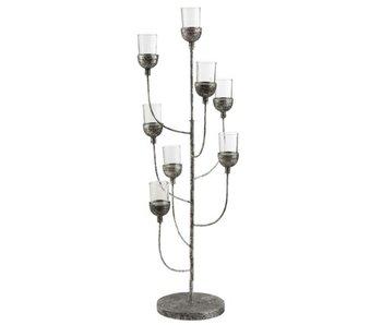 J-Line Kandelaar Windlichten Metaal/Glas Zilver