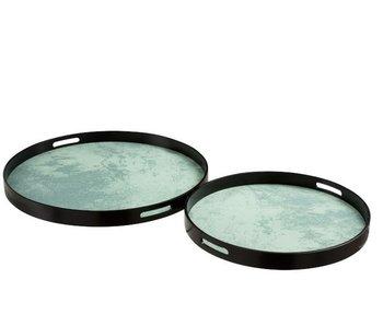 J-Line Set Van 2 Plateaus Marmer Effect Mdf/Glas Zwart/Water Groen