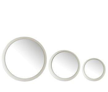 J-Line Set De 3 Miroirs Métal Blanc Mat