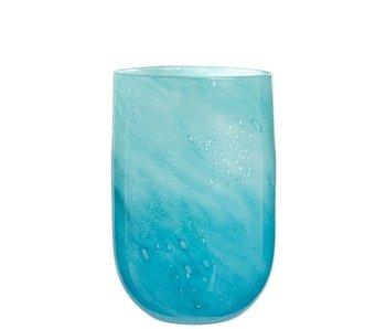 J-Line Vase Rond Bulles Verre Bleu Clair Grand