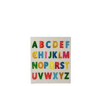 J-Line Schilderij Alfabet Canvas/Hout Mix