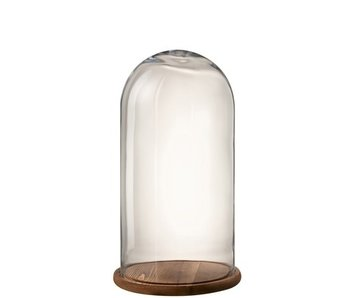 J-Line Stolp Rond Hout/Glas Transparant/Donker Bruin Small