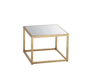J-Line Table d'appoint Carré Métal/Verre Or