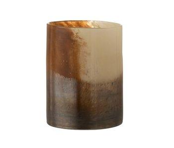 J-Line Vaas Rond Vlekken Glas Bruin Large