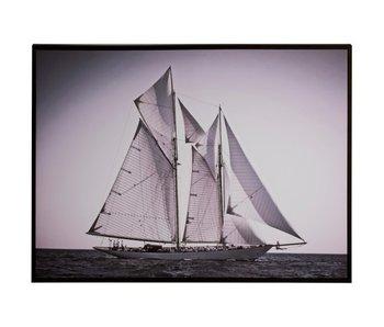 J-Line Kader Zeilboot Zijaanzicht Hout/Papier Zwart/Wit