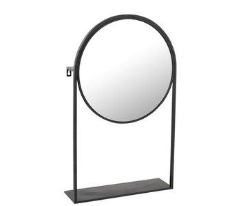 J-Line Miroir Sur Pied Métal/Verre Noir