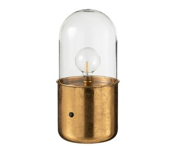 J-Line Tafellamp Antiek Led Glas/Zink Goud Large