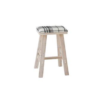 J-Line Tabouret Rectangle Bois/Textile Blanc/Noir