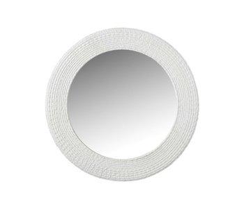 Miroir Rond Nervuré Polyrésine Blanc
