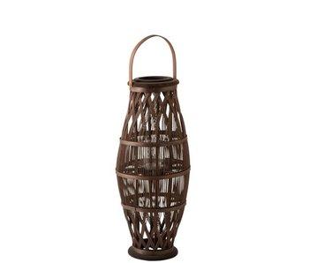 Lanterne Haute Bambou Brun Petit
