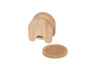 Glasonderzetter s/5 hout rond in houder