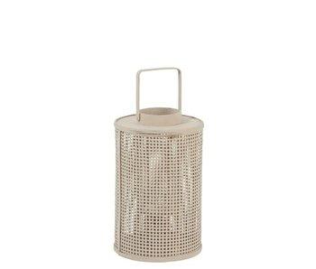 Lanterne Grille Ronde Bambou/Verre Beige Large