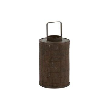 Lantaarn Cilinder Bamboeg/Las Bruin Large