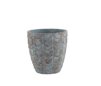 J-Line Pot de Fleurs Écailles Céramique Bleu/Gris Petit