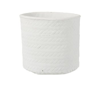 J-Line Bloempot Immitatie Gewoven Cement Wit Extralarge