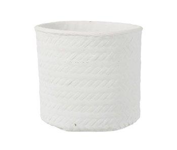 J-Line Pot de Fleurs Imitation Tissé Ciment Blanc Extralarge