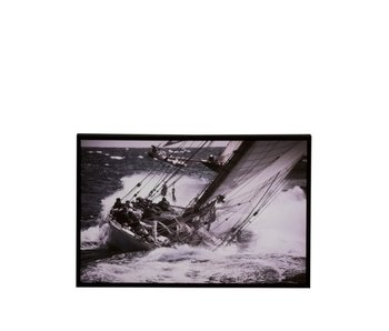 Kader Zeilboot Hout/Papier Zwart/Wit