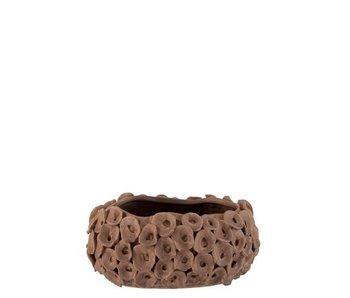 J-Line Pot de Fleurs Corail Céramique Marron