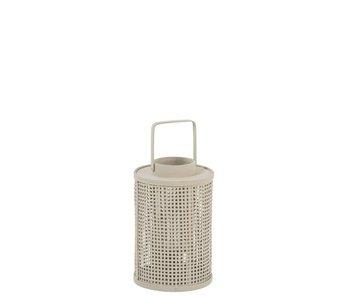 Lanterne Grille Ronde Bambou/Verre Beige Petit