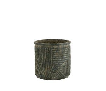 J-Line Pot de Fleurs Lignes Céramique Vert Foncé Petit