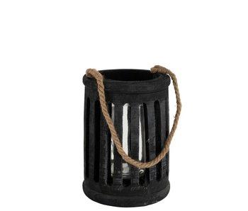 Lantaarn Cilinder Paulownia/Touw Zwart