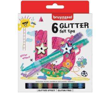 Kids glitter stiften - set van 6 stuks