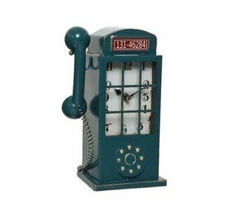 Klok metaal telefooncel 1 - 17x10x27cm
