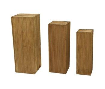 Pilaar L / in hout  - bruin 30x30x80h