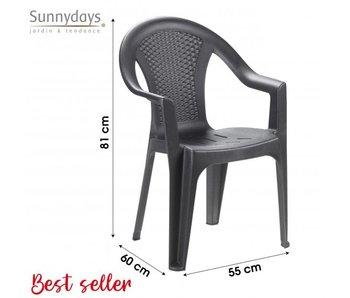 Chaise empilable Ischia - plastique anthracite