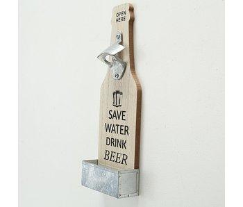 Flesopener Larry hout Save water h30 cm