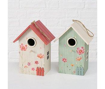 Vogelhuis rood/beige15x12x22