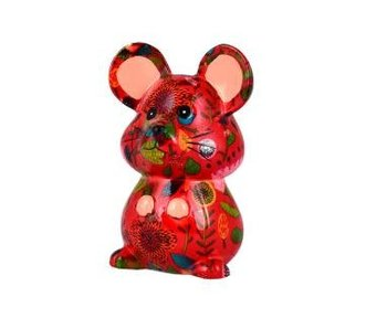 Pomme pidou Spaarpot rood'Martha'  muis - 8.5x7xH11.8 - Small