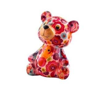 Pomme pidou Tirelire fleurs ours 'Teddy' - 8,5x7xH12 - Petit